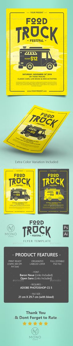 Food Truck Flyer / Poster Template PSD. Download here: http://graphicriver.net/item/food-truck-flyer-poster/16216342?ref=ksioks