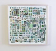 stamps arranged by colour and framed - could be what my childhood stamps stash has been waiting for!