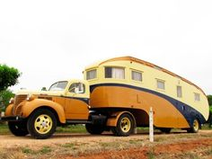 """From the road: """"Big Rig"""" fifth wheeler Retro Trailers, Rigs, Caravan, Touring, 1940s, Classic Cars, Trucks, Camping, Australia"""