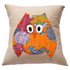 Applique kantha-print cotton pillow sham in yellow with an owl motif.  Product: ShamConstruction Material: Cotto...
