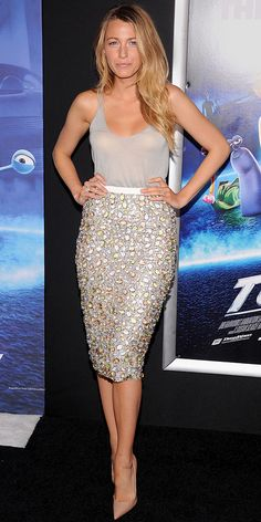 At the Turbo New York City premiere, Blake Lively supported her hubby in a show-stealing Burberry Prorsum ensemble: A simple gray tank dressed up with a bejeweled pencil skirt. A pair of nude pointy-toe Christian Louboutin pumps was all she needed to complete the look.