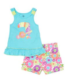 Loving this Aqua Toucan Tank & Floral Shorts - Infant & Kids on #zulily! #zulilyfinds