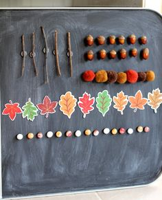 A beautiful invitation to create a fall tree with magnetic sticks, leaves, acorns, and pom poms. Fall Preschool Activities, Preschool Crafts, Toddler Activities, Art For Kids, Crafts For Kids, Arts And Crafts, Diy Crafts, Tree Study, Autumn Crafts
