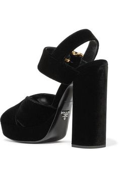 Prada - Velvet Platform Sandals - Black - IT41.5