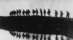 World War One soldiers  'Britain's entry into WW1 was announced at 23:00 on 4 August 1914' BBC