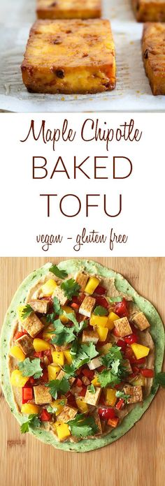 Maple Chipotle Baked Tofu (vegan, gluten free) - This easy sweet and spicy recipe is crispy on the outside. Perfect for a salad or sandwich. #bakedtofu #tofu Best Vegan Recipes, Vegetarian Recipes Dinner, Tofu Recipes, Spicy Recipes, Vegan Dinners, Easy Dinner Recipes, Healthy Dinner Recipes, Easy Meals, Vegetarian Lifestyle