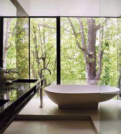 Browse photos of Luxury Bathroom. Find ideas and inspiration for Luxury Bathroom to add to your own home. Big Bathtub, Modern Bathtub, Bathtub Decor, Bathroom Modern, Nature Bathroom, Black Bathtub, Standing Bathtub, Wood Bathtub, Serene Bathroom