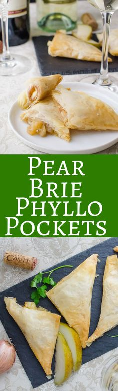 Pear Brie Phyllo Pockets - Flaky phyllo dough cradles Iberico ham, melty brie cheese and a lightly sweet pear compote. Great for holiday entertaining! Pear Recipes, Holiday Recipes, Dip Recipes, Yummy Treats, Yummy Food, Sweet Treats, Phyllo Dough, Appetizer Recipes, Deserts