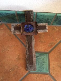 Excited to share this item from my shop: Large OOAK Unique Embellished Rusty Rustic Wood Wall Decor Wall Cross Old Western New Mexico Beautiful Royal Blue Sea Glass Pieces Rustic Wood Wall Decor, Cross Wall Decor, Rustic Cross, Glass Center, Wood Crosses, Southwest Style, Sea Glass, Royal Blue, Primitive