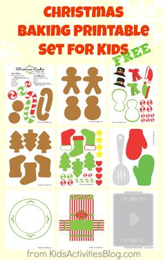 Christmas printables set for kids-This set of Christmas printables is an entire holiday baking kit…in paper.  No need to turn on the oven or make a mad dash to the grocery store because all the ingredients for a fun afternoon of Christmas cooking making is right here!