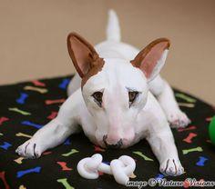 Bull Terrier Art Sculpture Polymer Clay Dog Figurine Pet Portrait Home Decor. $125.00.