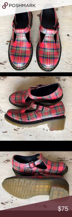 Dr. Marten's Sophia T-bar Stewart Tartan Red Plaid NEW!! All leather Tartan Stewart Plaid  Buckle Closure So: US 9 / EU 41 Leather  SO cute! Dr. Martens Shoes Ankle Boots & Booties