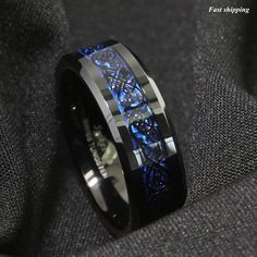 8Mm Tungsten Carbide Ring Black Celtic Dragon Blue carbon fibre Mens Jewelry #YBEXP #Band