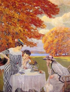 Tea in the Park. EdwardCucuel (American, Impressionism,1875-1954). Oil on canvas. In 1912 Cucuel successfully exhibited some of his works in Paris. His paintings resemble the French impressionists as to colour and motif. His favourite motifs are portraits of women and nudes in bright interiors, plein-air-representations with social scenes, and Bavarian landscapes.
