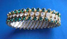 Glamorous 1950s vintage Emerald GREEN RHINSTONE stretch BRACELET...Retro Sparkly Bangle Stunner! Rockabilly Glam! Empire Made. by SlimandSugar on Etsy