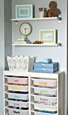 Easy DIY using TROFAST storage solution and labeling the bins from blogger @Jen Jones !