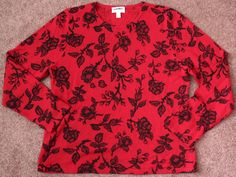 Women's 100% CASHMERE Charter Club Sweater Crew 2-ply Floral Roses Black Red XL #CharterClub #Crewneck