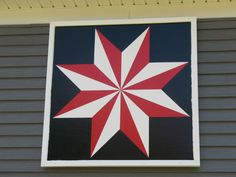 LeMoyne Star (also Divided Star, Star of the East, North Star, Louisiana Star) Boone County, Kentucky Barn Quilt Designs, Barn Quilt Patterns, Quilting Designs, Star Quilt Blocks, Star Quilts, Barn Signs, Pub Signs, Wood Signs, Painted Barn Quilts