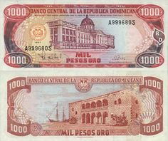 REPUBLICA DOMINICANA 1.000 PESOS 1997. Currency in Dominican Republic - setting for Caribbean Paradise (first Island Legacy Novel). For more info, contact me at www.terimetts.com, and ck under Novels.