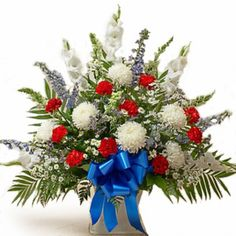 red white and blue floral wreaths | Description Substitution Policy Delivery Policy