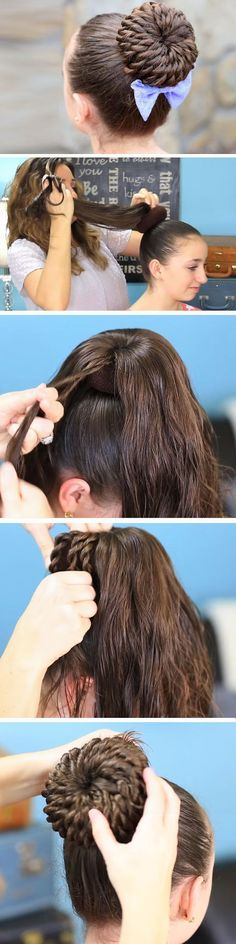 Rope-Twisted Pinwheel Bun | Quick DIY Prom Hairstyles for Medium Hair | Quick and Easy Homecoming Hairstyles for Long Hair