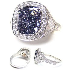 3.11ct. Cushion Fancy dark Gray-blue (Flawless) Diamond