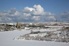 Views Across To Wheal Frances In Cornwall's Snow.