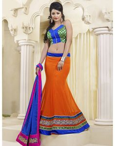 Orange Georgette Lehenga Choli with Zari Work