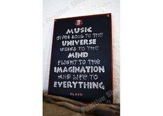 Music gives soul to the universe wings to the mind flight to the imagination and life to everything Ancient Greek Quotes, Wooden Signs With Sayings, Letter Board, Imagination, Wings, Universe, Mindfulness, Positivity, Hand Painted