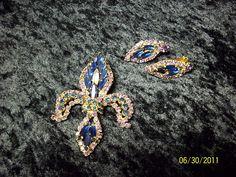 Hobe Fleur de lis Brooch and Earring Set