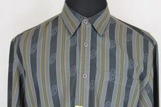 TOMMY BAHAMA Mens Long Sleeved Button Front Gray Striped Casual Shirt sz Large #TommyBahama #ButtonFront