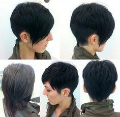 Black Short Haircut for Side Long Bangs