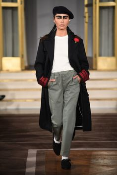 Scandinavian Fashion Weeks AW18: Greatest Hits  Uniforms for the Dedicated impressed us with their minimalism-meets-military vibe and beautiful details, such as oversized stitching, piping and a red carnation in each lapel. These are high-quality clothes that will never go out of style, and the Swedish design house makes it look easy every season.