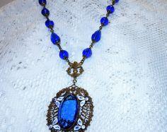 Antique Art Nouveau Czech Brass Enamel Glass Lavalier Necklace