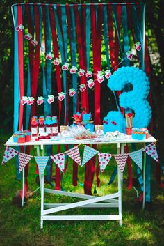 Red and blue vintage cherry birthday party! See more party ideas at CatchMyParty.com!