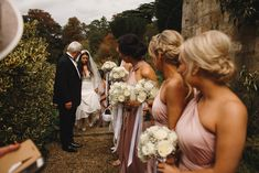 Bride arriving at the church Long haired brunette bride Dress by Suzanne Neville Blush pink bridesmaid dresses Sudeley Castle Wedding Photography Image by ARJ Photography Blush Pink Bridesmaid Dresses, Wedding Dresses, Image Photography, Wedding Photography, Brunette Bride, White Roses, Summer Wedding, Castle Weddings, Wedding Inspiration
