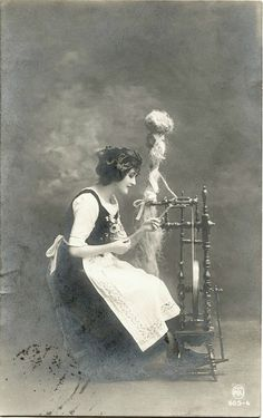 YOUNG WOMAN WITH SPINNING WHEEL & WWI GERMANY FIELDPOST 1917 REAL PHOTO POSTCARD