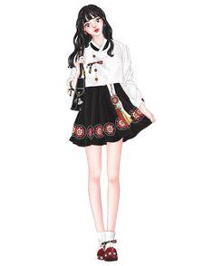 앞으로 커피는 마시지 말아야겠다☕️ #한복#그림#일러스트#イラスト#illustration#dress#draw#sketch China Fashion, Fashion Art, Kids Fashion, Fashion Outfits, Fashion Design, Modern Hanbok, Dress Drawing, Korean Street Fashion, Spice Girls