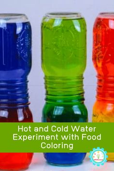 Hot and Cold Water Experiment with Food Coloring Science Week, Preschool Science Activities, Summer Science, Science Kits, Color Activities, Science For Kids, Science Fun, Physical Science, Science Education