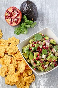 Pomegranate Avocado Salsa with Crisps | Udi's® Gluten Free Bread