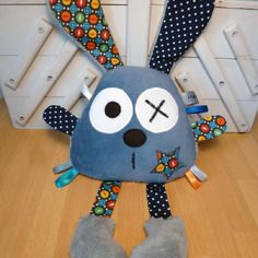 Doudou lapin bleu gris - pois Pin Cushions, Tweety, Kids Toys, Couture, Boutique, Dolls, Etsy, Silhouette, Character