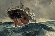 Frank Henry Mason (British, The SS Titania in the South Atlantic, 1939 Merchant Navy, Merchant Marine, Ship Paintings, Seascape Paintings, Old Sailing Ships, Sea Pictures, Boat Art, Boat Painting, Nautical Art
