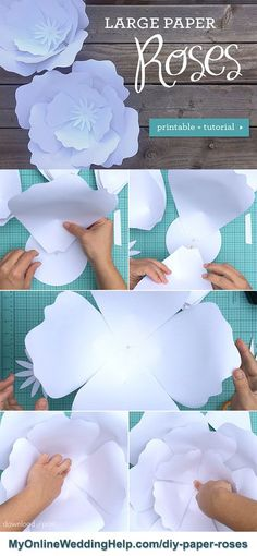 This paper roses DIY has a free template download and a step-by-step tutorial. Anna throws in a few tips as well, such as the best way to get the petal curl you want.