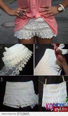 Lace shorts: use soffee shorts. SO SMART