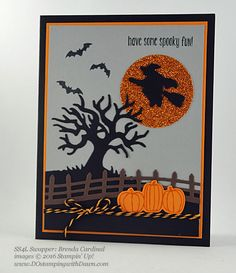 7 spooky Stampin' Up! 2016 Holiday Catalog Halloween swap cards shared by Dawn Olchefske #dostamping (Brenda Cardinal)