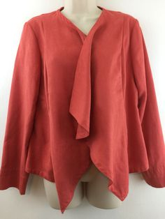Chicos 0 Jacket Orange Coral Faux Suede Draped Open Blazer Bolero S Machine wash #Chicos #Blazer