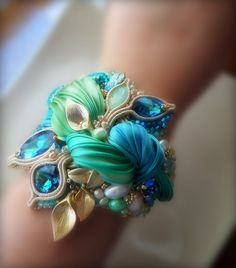 CUFF - BRACELET  Design by Serena Di Mercione --- beadembroidery, shibori silk, swarovski