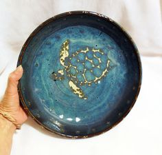 Sea Turtle Pottery Pie Plate by RikaBluePottery on Etsy