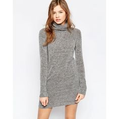 b.Young High Neck Sweater Dress ($52) ❤ liked on Polyvore featuring dresses, grey, bodycon dress, bodycon sweater dress, tall dresses, high neckline dress and gray sweater dress