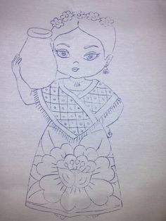 Hand Embroidery Flowers, Hand Embroidery Designs, Embroidery Patterns, Folk Art Flowers, Flower Art, Outline Drawings, Cute Drawings, Afrique Art, Mexican Embroidery